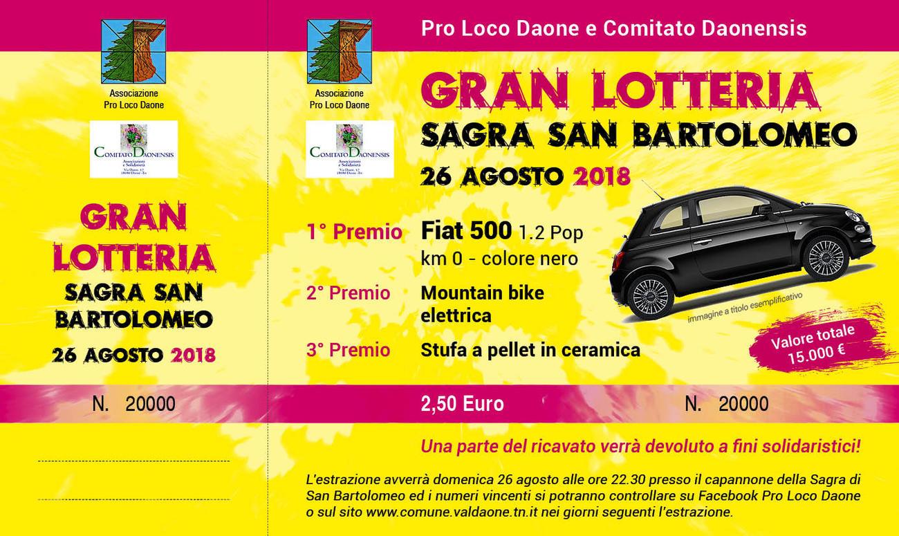 NUMERI VINCENTI LOTTERIA DI SAN BARTOLOMEO 26 AGOSTO 2018